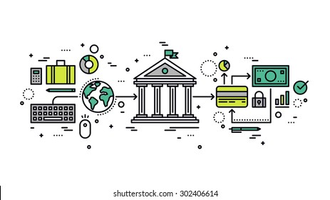 Thin line flat design of internet banking transaction, secure money transfer using credit card, online financial business operations. Modern vector illustration concept, isolated on white background.
