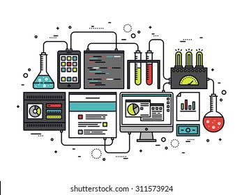 Thin line flat design of internet website content research, web CMS analysis measure, product testing technology, big data analytics. Modern vector illustration concept, isolated on white background.