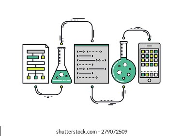 Thin line flat design of laboratory experiment with scientific datum, chemical reaction process, science big data analysis, mobile app. Modern vector illustration concept, isolated on white background