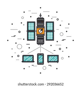 Thin line flat design of LTE cellular transmission based on satellite communication system, global network service for mobile devices. Modern vector illustration concept, isolated on white background.