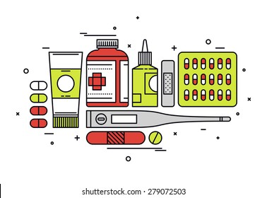 Thin line flat design of medication supplies, aspirin and painkiller pills, medical tools, healthcare equipment for health treatment. Modern vector illustration concept, isolated on white background.