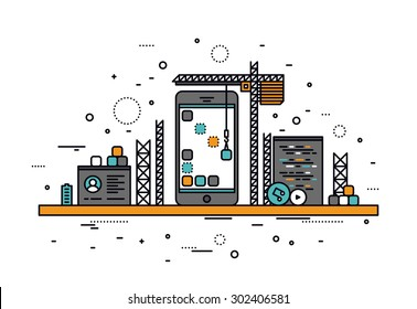 Thin line flat design of mobile app construction site, smartphone user interface building process, api coding for phone application. Modern vector illustration concept, isolated on white background.