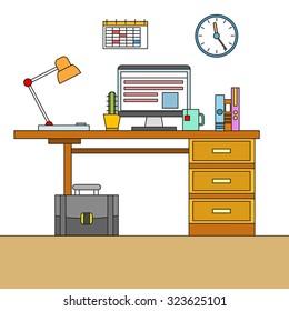 Thin line flat design of modern designer workspace with desktop computer, developer work place, artist equipment in office interior. Modern vector illustration concept, isolated on white background.