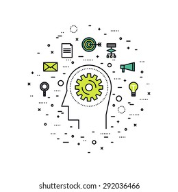 Thin line flat design of personal brain training workflow, self development progress, business work process, human strategy solution. Modern vector illustration concept, isolated on white background.