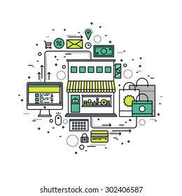Thin line flat design of purchase goods in online store, internet shopping selling process, e-commerce website for order by customer.  Modern vector illustration concept, isolated on white background.