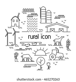 Thin line flat design rural landscape icon. Set elements with house and wind mill,tractor, sun and farm animals. Vector illustration icons style thin lines with possibility adjusting thickness of line