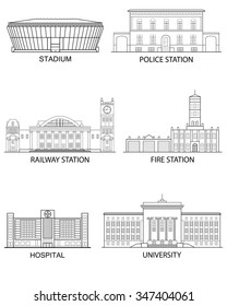 Thin line flat design. Set of isolated historical and modern buildings on a white background in a linear style. Vector illustration