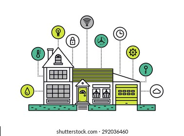 Thin line flat design of smart house technology system with centralized control of lighting, heating, ventilation and conditioning. Modern vector illustration concept, isolated on white background.