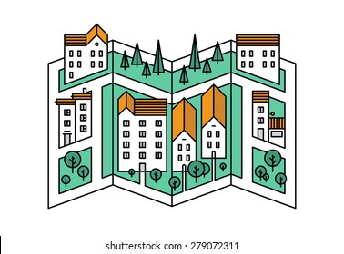 Thin line flat design of street map of small town, city district location with small buildings and green trees, village road mapping. Modern vector illustration concept, isolated on white background.
