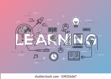 Thin line flat design template for web page, exchange and development of ideas and knowledge. Modern vector illustration concept of word learning for website and mobile banners.