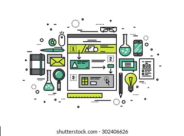 Thin line flat design of user-friendly scenario building, website user experience research, web story sketching for structure usability. Modern vector illustration concept isolated on white background
