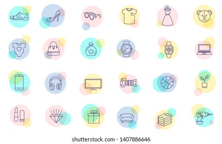 Thin line flat design vector shopping icons set for web site,mobile application and presentation. Shopping catalog categories icons.  Vector illustration