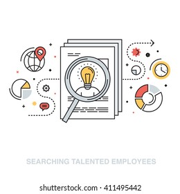 Thin line flat design vector illustration concept for searching talented efficient employees, human resource management, headhunting, selecting professional staff isolated on white background