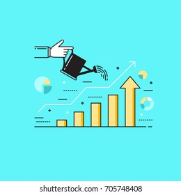 Thin line flat design vector illustration of a hand watering graphs, concept for growing business, investment, getting profit, analytics isolated on bright background