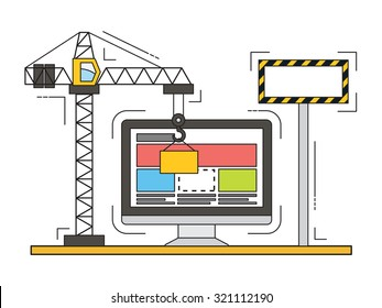 Thin line flat design of website under construction, web page building process. Modern vector illustration concept.
