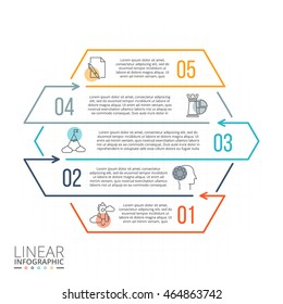 Thin line flat elements for infographic. Template for diagram, graph, presentation and chart. Business concept with 5 options, parts, steps or processes. Data visualization.