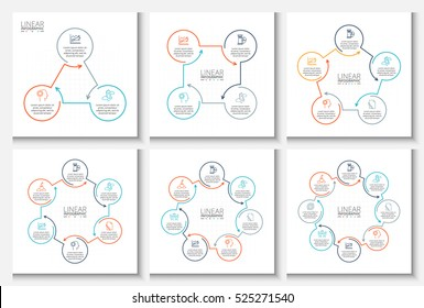 Thin line flat elements for infographic. Template for diagram, graph, presentation and chart. Business concept with 3, 4, 5, 6, 7 and 8 options, parts, steps or processes. Data visualization.