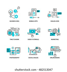 Thin line flat icons pack for web design, user interface, mobile, computer infographic and other projects. 9 monoline elements pack.