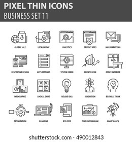 Thin line flat icons pack for web design, user interface, mobile, computer infographic and other projects. 20 monoline elements pack.