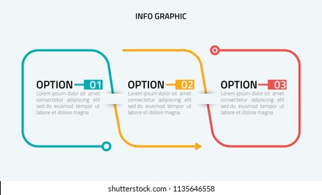 Thin line flat infographic design elements and number options.Timeline with 3 options, steps or process. Vector business template for presentation.