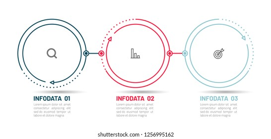 Thin line flat infographic element and marketing icons. Timeline with 3 steps, options. Can be used for workflow layout, diagram, report, web design. Vector business template for presentation.
