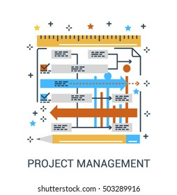 Thin line flat infographic icon concept of project management or workflow. Ruler with tasks dashboard