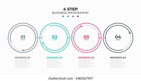 Thin line flat infographic process design element with circles. Business concept with 4 options, steps. Vector illustration.