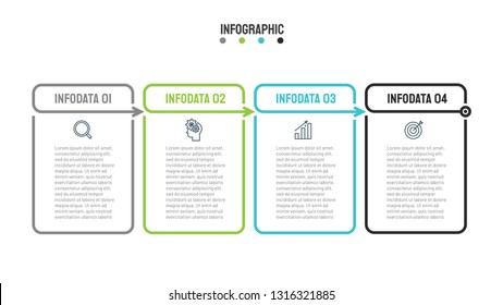 Thin line flat infographic table with 4 steps, options and marketing icons. Vector business template for presentation.