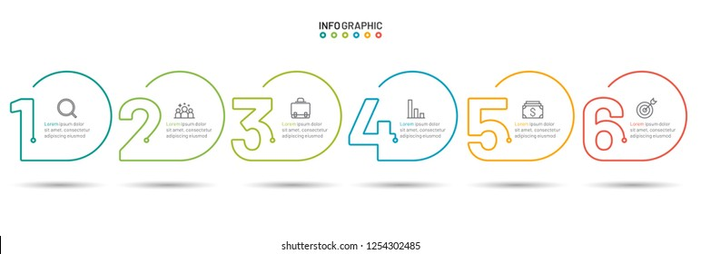 Thin line flat infographic template. Business concept with 6 number options, steps or processes. Vector illustration.