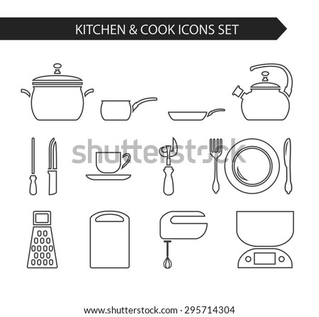 112ff70226 Thin line flat vector kitchen and cook icon. Design elements set for  website isolated on white background. Pan