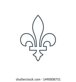 thin line fleur-de-lis or lily flower icon. outline new orlean symbol of support and recovery. linear royal french heraldic symbol. editable stroke. isolated on white background. vector illustration