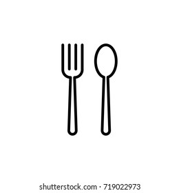 thin line fork and spoon icon on white background