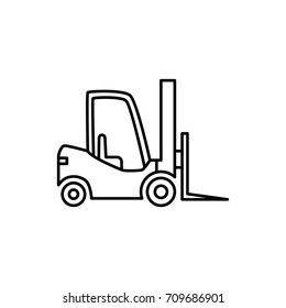 thin line forklift icon on white background