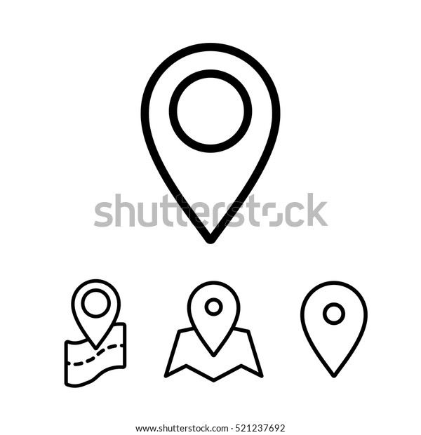 Thin Line Google Map Search Pin Stock Vector Royalty Free 521237692