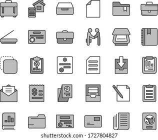 Thin line gray tint vector icon set - briefcase vector, clean sheet of paper, folder, archive, download data, bookmark, estimate, received letter, notebook, case, pass card, drawer, notes, copy