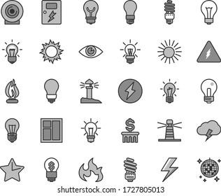Thin line gray tint vector icon set - lightning vector, matte light bulb, incandescent lamp, window, saving, dangers, star, eye, storm cloud, lens, energy, lighthouse, coastal, electricity, flame
