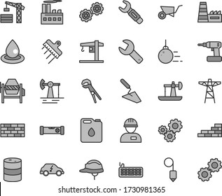 Thin line gray tint vector icon set - repair key vector, crane, tower, workman, brickwork, brick wall, big core, gears, building trolley, trowel, concrete mixer, adjustable wrench, cordless drill