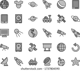 Thin line gray tint vector icon set - monitor vector, counterclockwise, t short, bath ball, earth, artificial satellite, planet, billboard, rocket, tablet pc, hdd, telescope, antenna, saturn