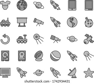 Thin line gray tint vector icon set - monitor vector, counterclockwise, t short, bath ball, artificial satellite, planet, Earth, billboard, rocket, space, tablet pc, hdd, telescope, antenna, saturn