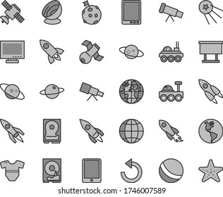 Thin line gray tint vector icon set - monitor vector, counterclockwise, t short, bath ball, earth, planet, billboard, rocket, space, tablet pc, hdd, telescope, satellite, antenna, saturn, first