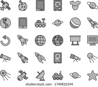 Thin line gray tint vector icon set - monitor vector, counterclockwise, t short, bath ball, earth, artificial satellite, planet, billboard, rocket, tablet pc, hdd, telescope, antenna, saturn, first