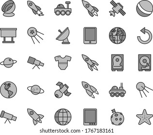 Thin line gray tint vector icon set - counterclockwise vector, t short, bath ball, earth, artificial satellite, planet, billboard, rocket, space, tablet pc, hdd, telescope, antenna, saturn, first
