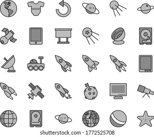 Thin line gray tint vector icon set - monitor vector, counterclockwise, t short, bath ball, earth, artificial satellite, planet, billboard, rocket, space, tablet pc, hdd, telescope, antenna, saturn