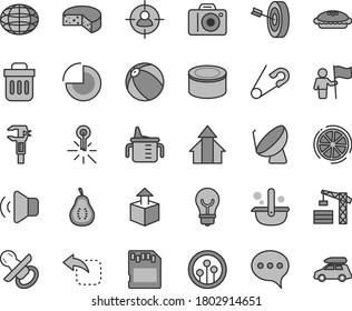 Thin line gray tint vector icon set - camera vector, pie chart, nipple, measuring cup for feeding, open pin, baby bath ball, tower crane, speech, bulb, volume, unpacking, move left, cheese, caliper