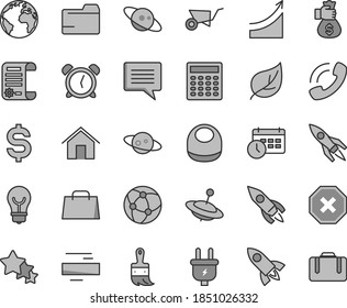 Thin line gray tint vector icon set - sign of the planet vector, image thought, mark injury, alarm clock, folder, minus, baby bib, yule, building trolley, wooden paint brush, home, bulb, leaf, plug
