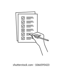thin line hand with quiz or checklist task. stroke todo graphic linear art design isolated on white background. concept of pile of papers with dos and dont or insurance checkbox and assessment info
