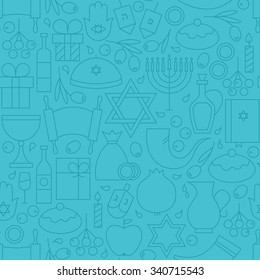Thin Line Happy Hanukkah Blue Seamless Pattern. Vector Jewish Winter Holiday Design and Seamless Background in Trendy Modern Line Style. Israel Judaism Religion
