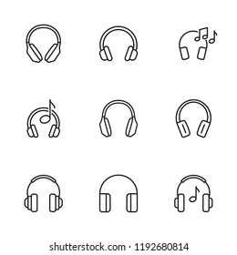 thin line headphones icons set on white background