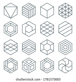 thin line hexagon symbol icon set. linear hexagonal logo. isometric cube. impossible geometric shape. optical illusion geometry. editable stroke. isolated on white background. vector illustration