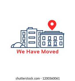 thin line house like we have moved. concept of land mark like ecommerce delivery or transfer. flat simple locator outline logotype graphic art design illustration element isolated on white background